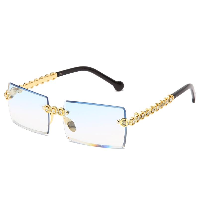 Очки солнцезащитные женские квадратные без оправы, модные брендовые дизайнерские Роскошные солнечные очки с бриллиантами, в металлической...