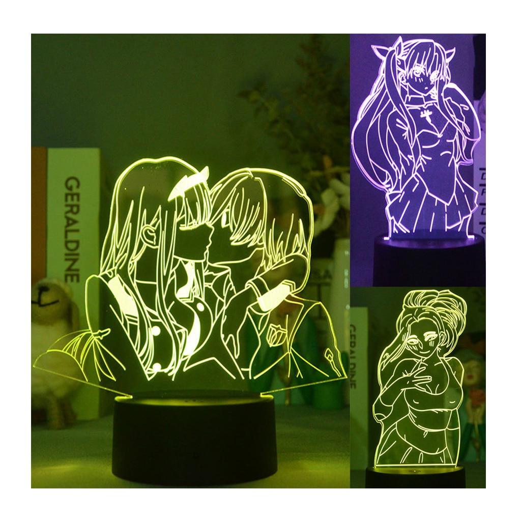 AliExpress - 3D Illusion Zero Two Figure Led Nightlight For Kids Child Bedroom Decor Multi Color Changing Lampara Anime Manga Light Lamp Gift