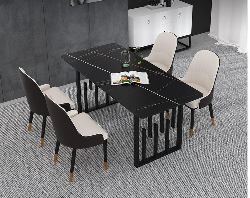 طاولة طعام مع كرسي ، مزيج من الرخام الاسكندنافي ، مقاومة للخدش ، فاخرة