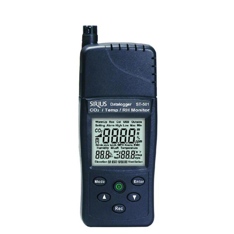 TENMARS ST-501 Monitor de calidad del aire para uso en interiores para dióxido de carbono (CO2), humedad relativa (RH) y temperatura.