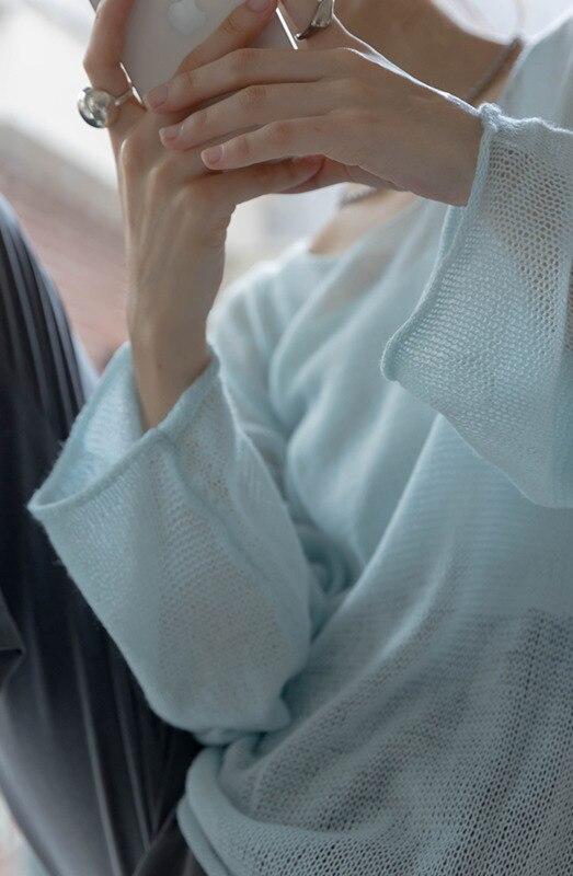 Thin Hollow Out Tee Sunscreen Blouse Women's Summer 2021 Autumn New Knitted Long Sleeve T-shirt