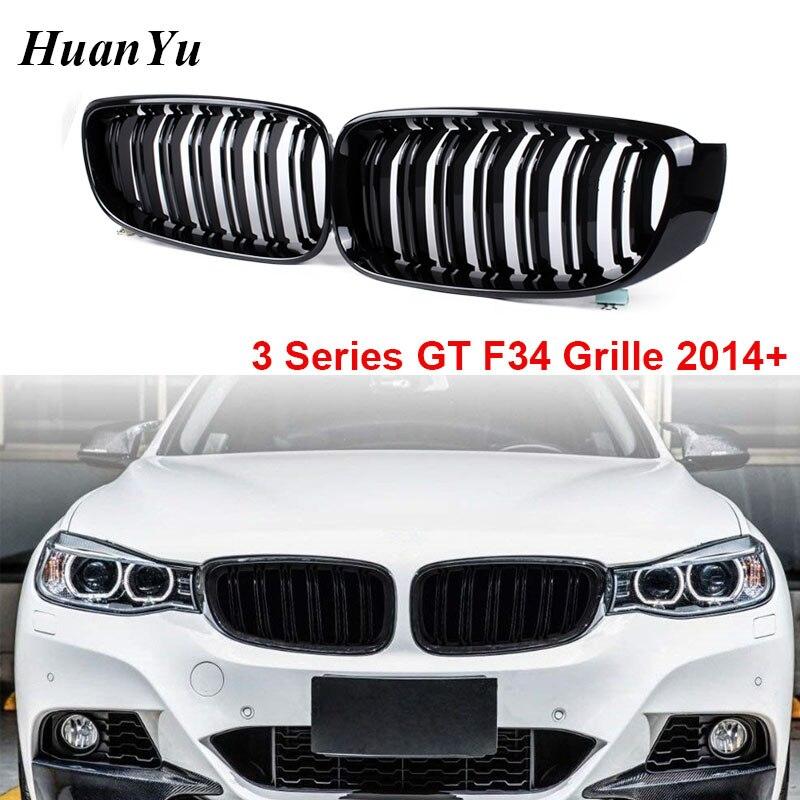 2-slat F34 Kidney Grille for BMW 3 Series GT Gran Turismo Front Bumper Racing Grills 328i 330i 335i 340i 325d Gloss Black 2014+