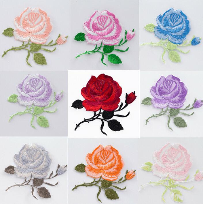 Нашивка с вышивкой в виде Розы, 9 цветов