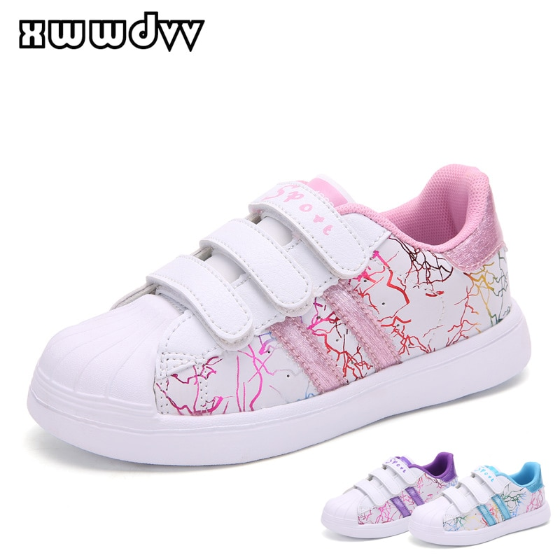 XWWDVV Girls Shoes Outdoor Casual Kids Flat Shoe Anti-collision Toe Children's Sneakers Lightweight Non-slip PU Leather Footwear