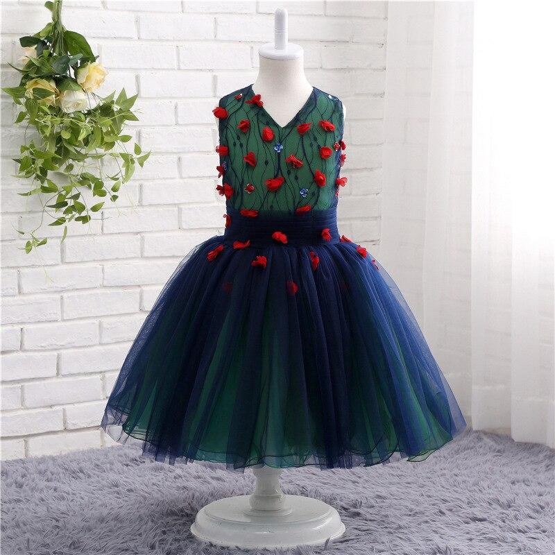 Цветочные платья для девочек на свадьбу, тюлевые вечерние бальные платья без рукавов, милые детские свадебные платья, одежда, платья для ...