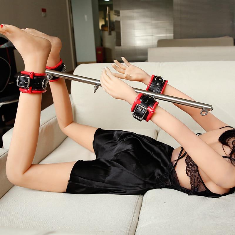 Juego de Bondage BDSM, barra esparcidora ajustable de acero inoxidable, esposas de esclavo sexual, esposas de tobillo, fetiche, restricciones, productos de juguetes