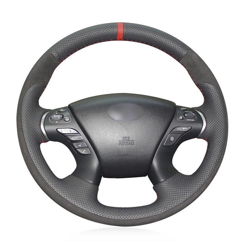 Para JX35 Infiniti M35 M25 M56 protector para volante de coche cosido a mano DIY personalizado
