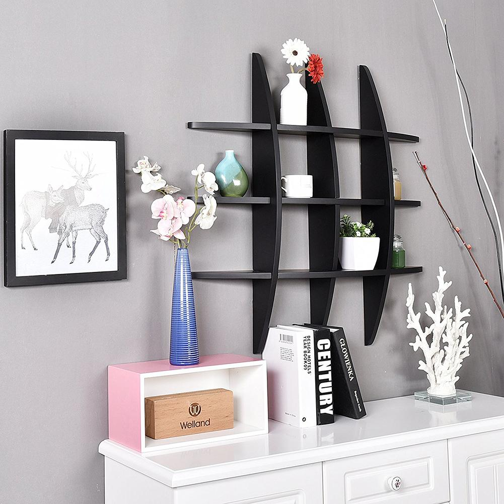 29.5 inch Cross Display Wall Mounted Storage Shelf Vase Holder MDF Black With Shelving Solution Cross Display Wall Shelf