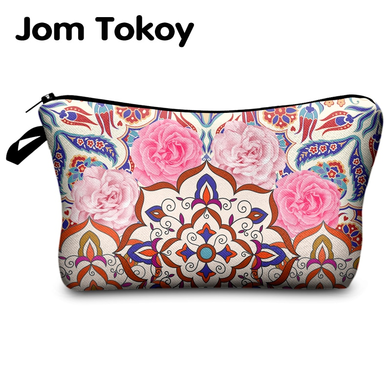 Jomtokoy nowe kobiety Mandala drukowanie torebki na makijaż kosmetyki etui na podróż portmonetka damska kobiety kosmetyczka