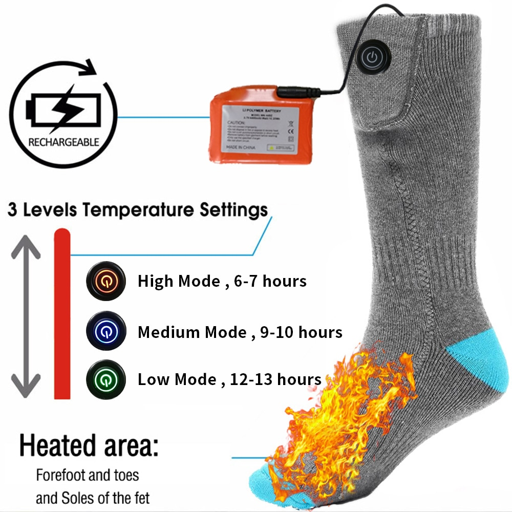 Calcetines térmicos eléctricos con batería recargable para pies fríos crónicos calcetines calefactores de carga USB de gran tamaño
