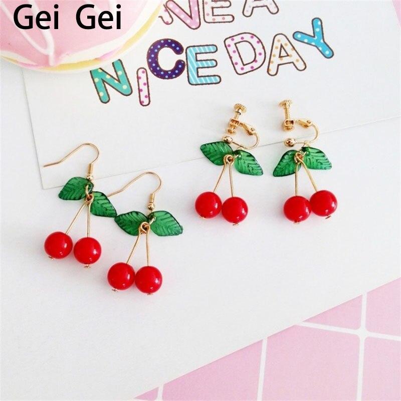 Pendientes de cerezas rojos dulces para mujer, joyería de fruta joven a la moda, hermosos pendientes sencillos perforados para estudiante