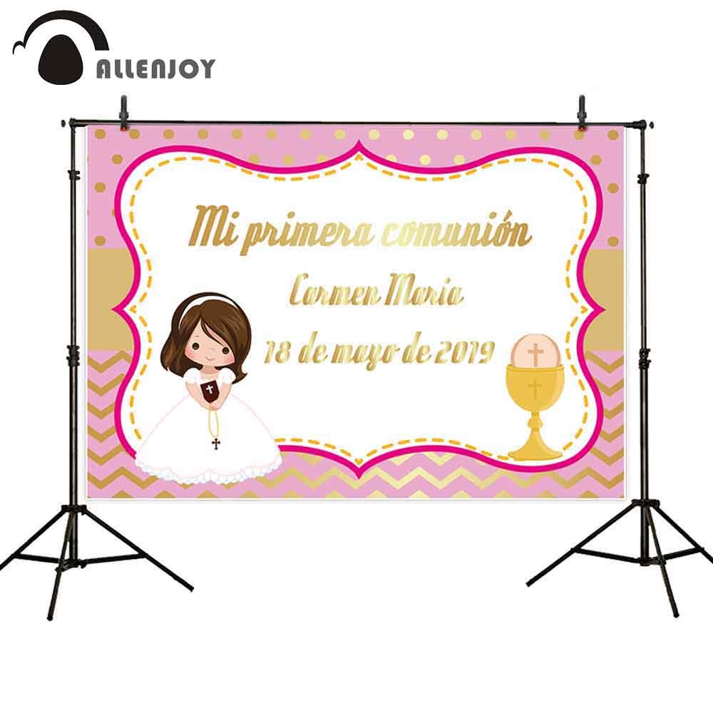 Fondo de fotografía con decoración de primera comunión de Allenjoy, Fondo de fiesta personalizado para chica rosa, photocall photozone