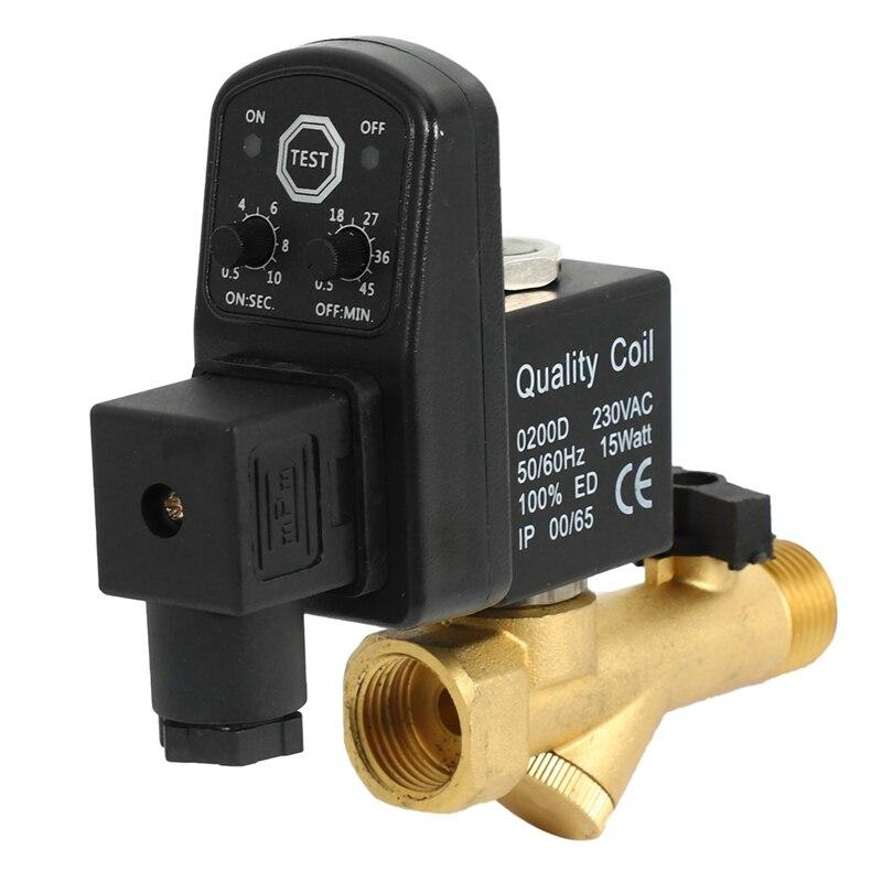 التيار المتناوب 220 فولت 1/2 بوصة الإلكترونية توقيت 2way ضاغط الهواء خزان الغاز التلقائي استنزاف صمام