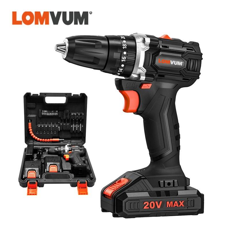 LOMVUM 20 فولت فرش اللاسلكي الحفر الكهربائية مصباح ليد مفك أدوات كهربائية بطارية ليثيوم أيون حفار كهربائي دقاق بت