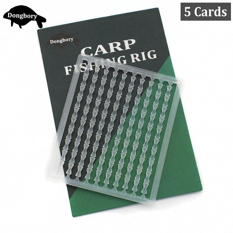 5 tarjetas = 500 Uds carpas cebo de pesca para el cabello Boilies Bait Stoppers Rig Stop Beads Bait Holder Dumbell Stoppers para alimentador móvil