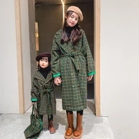 2021 autumn family matching clothes plaid windbreaker parent child outfit mom and daughter matching family outfits