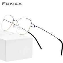 FONEX Bicchieri In Lega di Titanio Telaio Uomini Occhiali Da Vista Coreano Danimarca Donne Miopia Telaio Dellottica Senza Viti Eyewear 98618