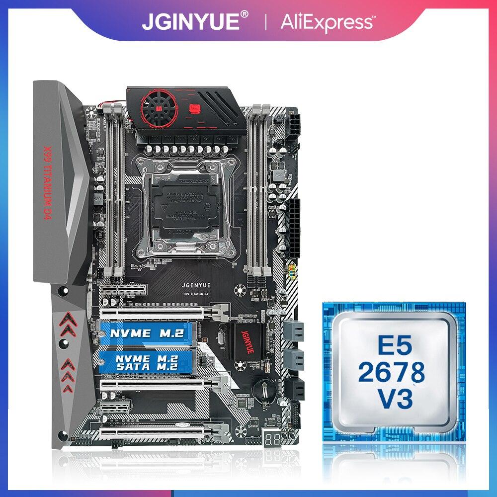 JINGYUE X99 اللوحة الأم LGA 2011-3 مجموعة المعالج مع Inte E5 2678 V3 CPU ATX NVME M.2 التيتانيوم D4