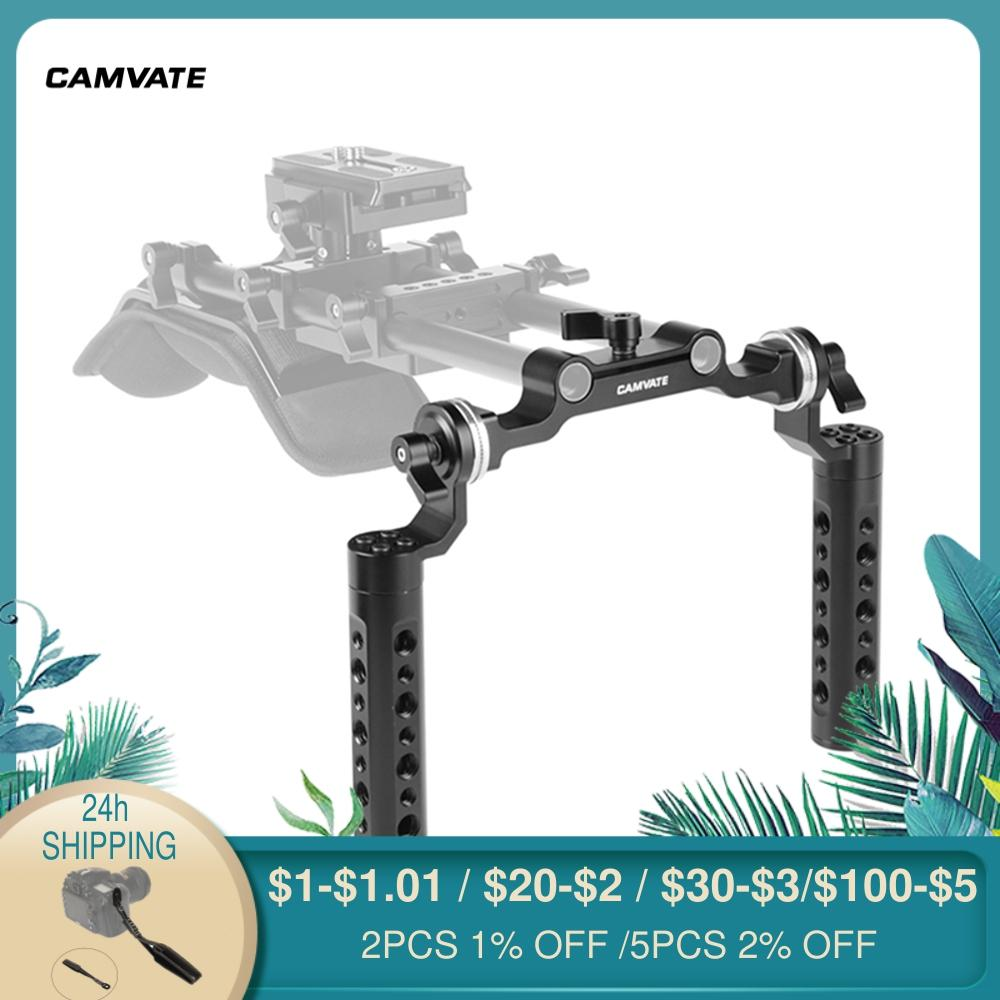 CAMVATE Dual Cheese Handgrip With Rosette M6 Mount Connection & 15mm Rod Clamp For DSLR Camera Shoulder Mount Rig Support System