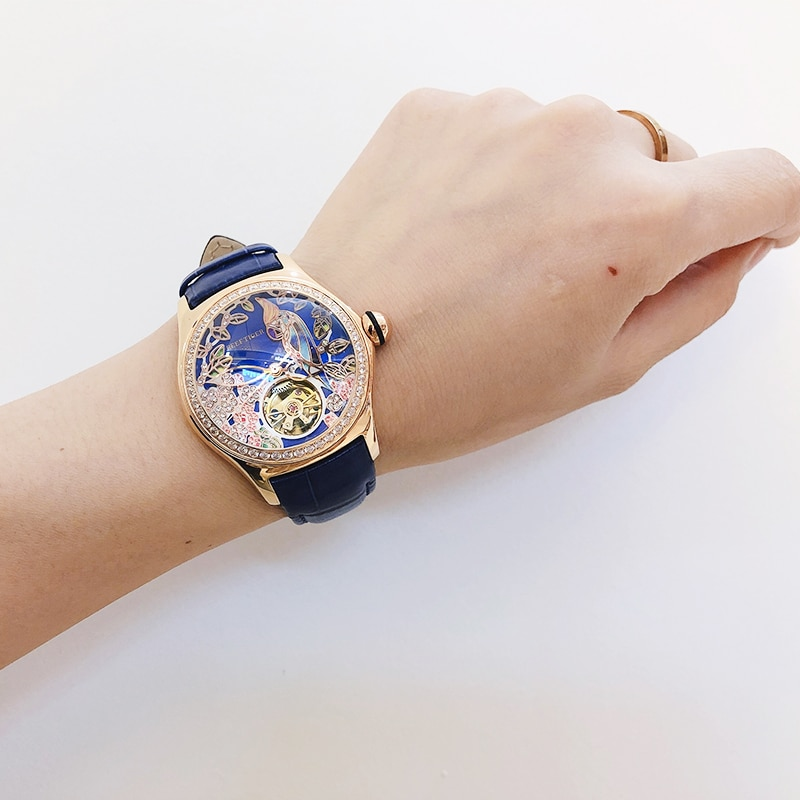 Reef Tiger/RT Blue Dial Fashion Watches for Women Leather Strap Waterproof Automatic Watches Diamond Tourbillon Watch RGA7105 enlarge