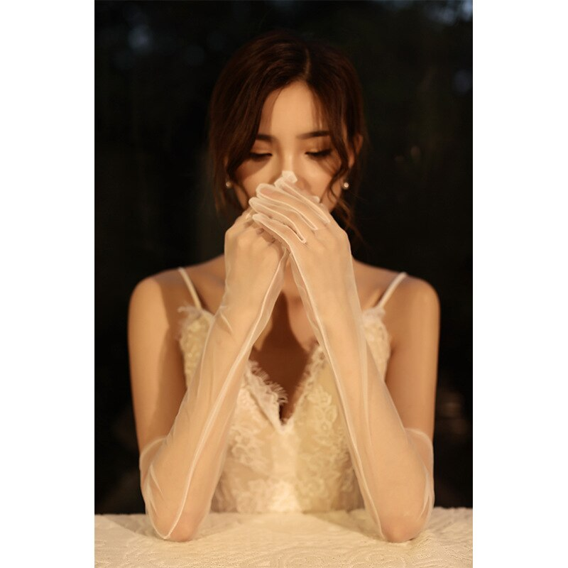 Fashion Lace Long Gloves Female Elegant Stretch Tulle Mesh Semi Sheer Women Full Finger Mittens Bride Wedding White Golves plus guipure lace insert semi sheer blouse