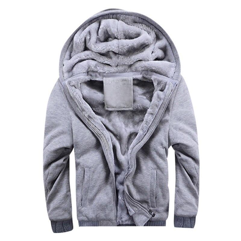 Parkas para hombre Casual invierno grueso abrigo cálido 2019 nueva cremallera Casual con capucha polar de manga larga para hombre Color sólido