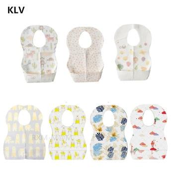 10/20pcs/lot Sterile Disposable Bib Children Baby waterproof Eat Bibs With Pocket Baby kid scarf bib saliva towel bib Convenient