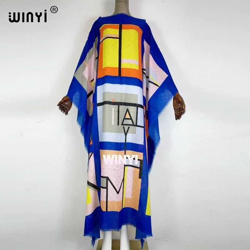 فستان نسائي مطبوع من WINYI موضة 2021 فستان فضفاض من القطن تنورة طويلة فستان صيفي أنيق لحفلات المرور على الشاطئ