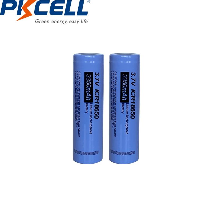 2 pces pkcell icr 18650 baterias de lítio icr18650 3.7v recarregável li-ion bateria 3350 mah parte superior lisa nenhum pcm para lanterna diy