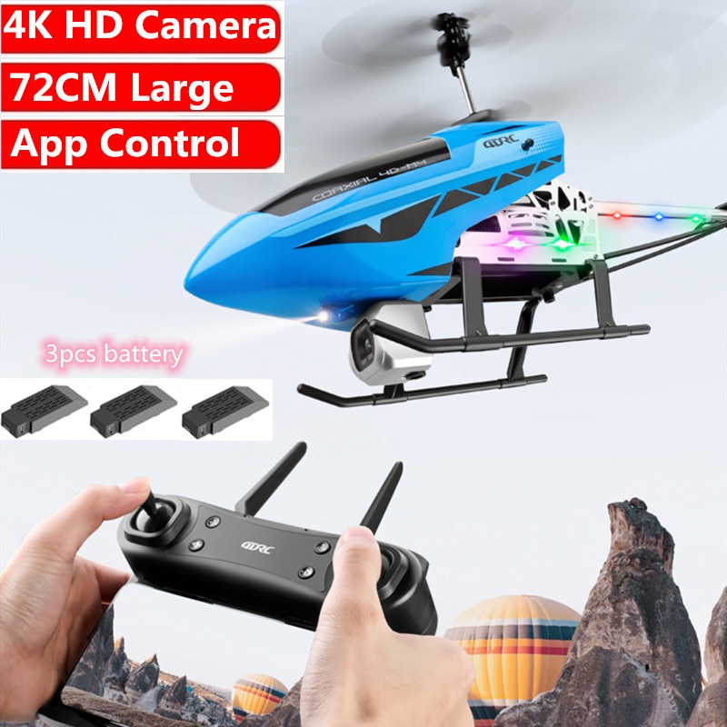 4K HD Dual Camera WIFI FPV RC Helicopter App Control 72CM Large Size Alloy Aricraft With Flash Light Fixed Height Boy Gift  Toys