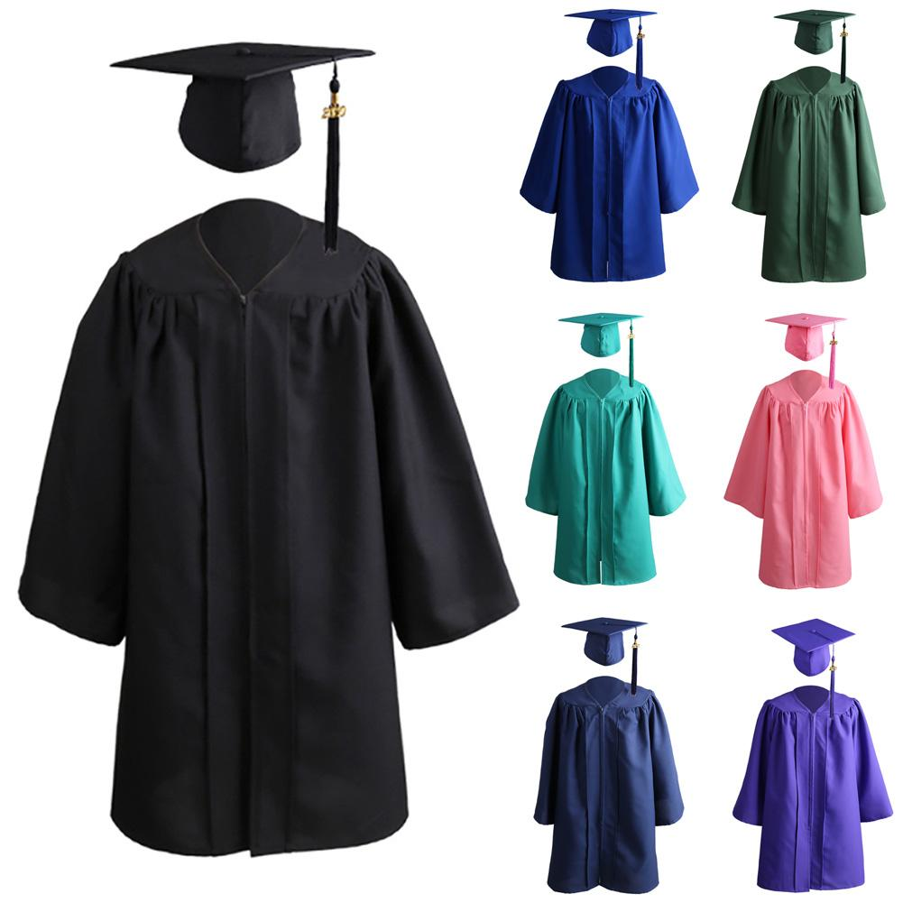 2020 Kids Solid Color Zip Closure Kindergarten Graduation Gown Tassel Decor Cap Zip Closure Tassel Decor Loose Style clothes