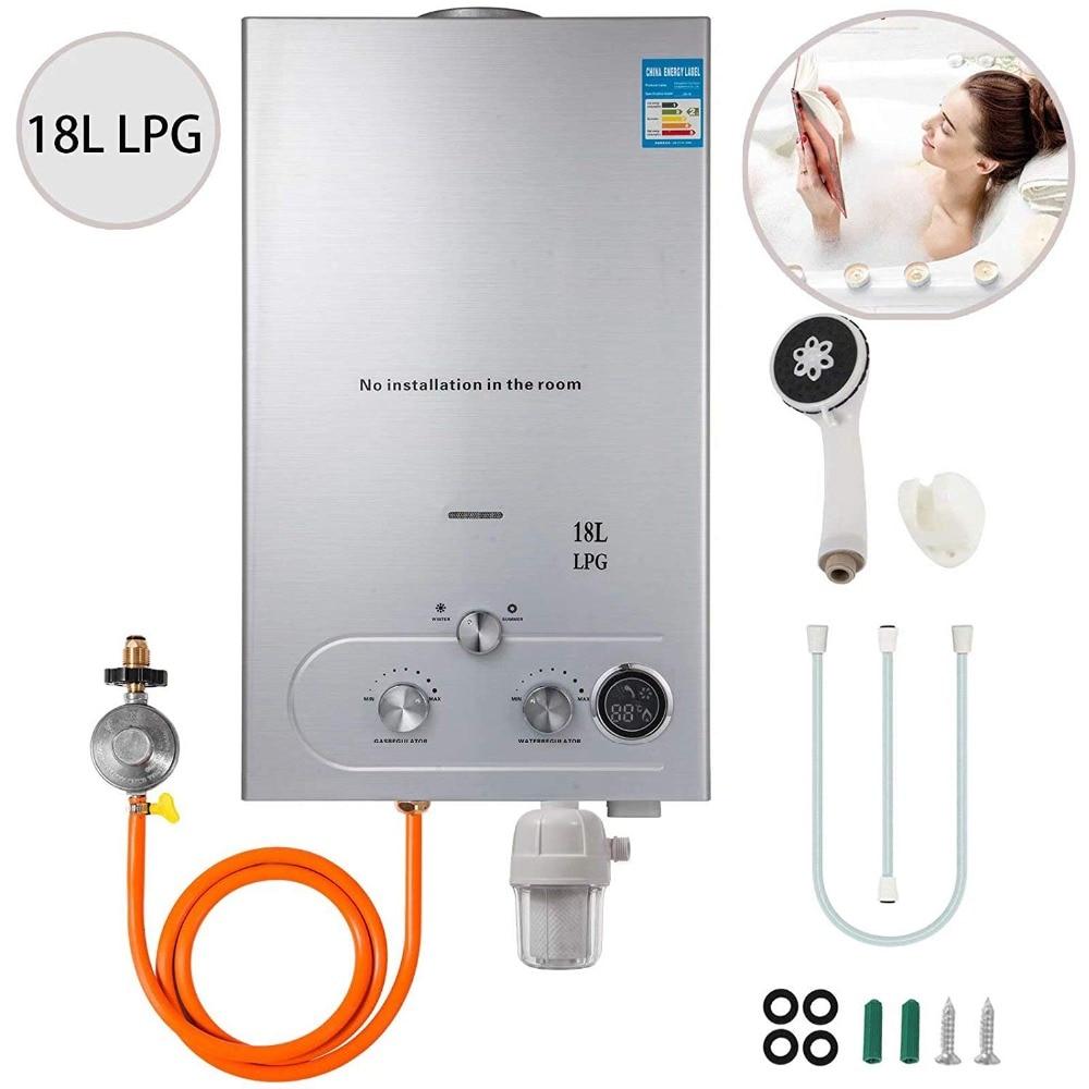 VEVOR 18L ترقية نوع Tankless البروبان سخان مياه 4.8GPM البروبان سخان مياه ساخن مع فلتر المياه و منظم الغاز