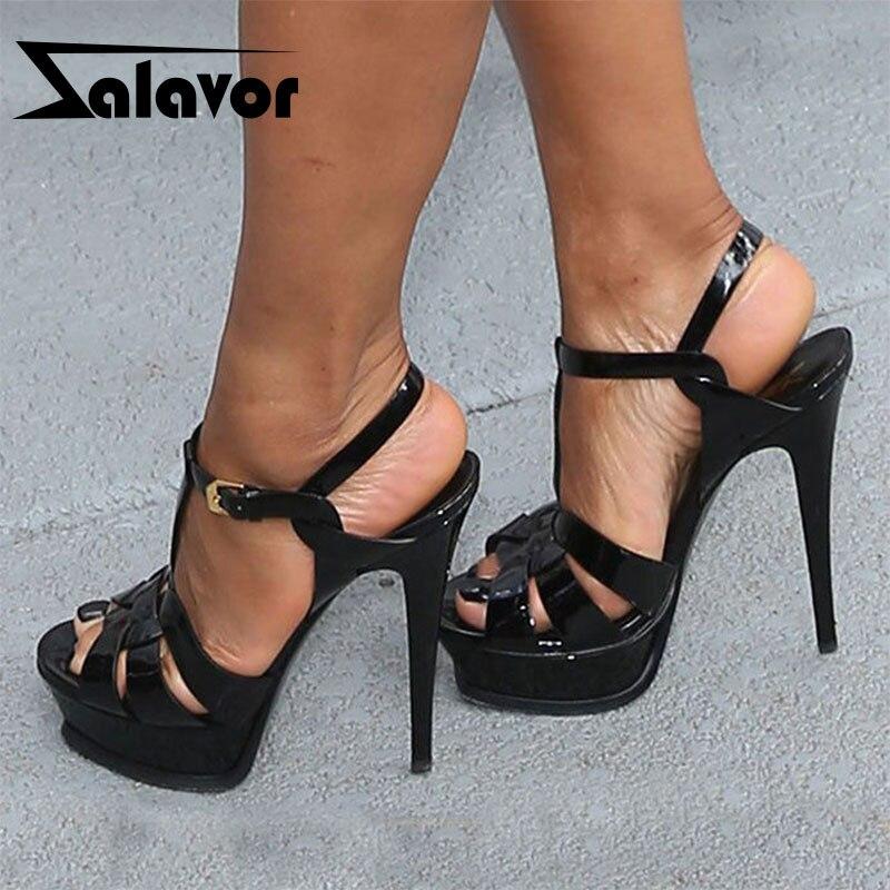 ZALAVOR  Women Sandals High Platform Patent Cow Leather Summer sandals Fashion Wedding Sandals Woman Footwear Size 33-40