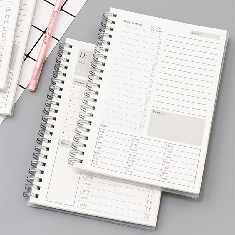 2021 new agenda coil spiral a5 diary notebook grid paper daily planner organizer notepad school office supplies stationery 2021 2022 Spiral A5 Notebook Planner Daily Weekly Monthly Kraft Paper Organizer Agenda School Office Schedule Stationery Gifts
