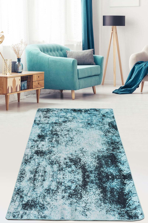سجاد أزرق فاتح لغرفة المعيشة ، سجادة غير قابلة للانزلاق ، لغرفة النوم ، المدخل