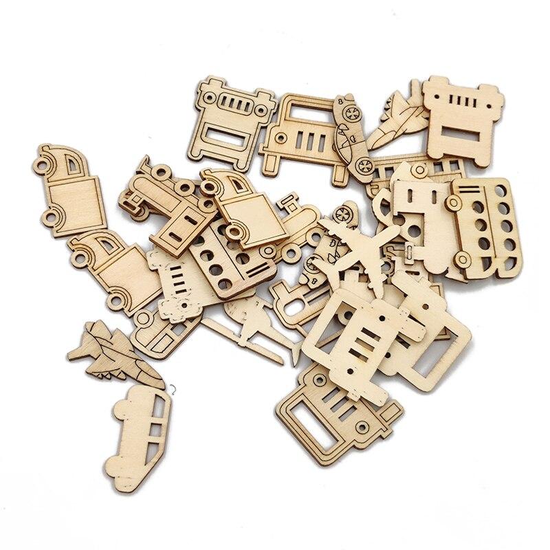 20 шт. деревянные транспортные формы деревянный вырез Сделай Сам разные Мультяшные деревянные ломтики деревянные кусочки для рукоделия