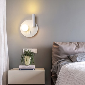 Modern LED Metal Wall Lamp Acrylic White Nordic Round Wall Light with Rotatable Spotlight for Bedroom Kitchen Home Loft Decor