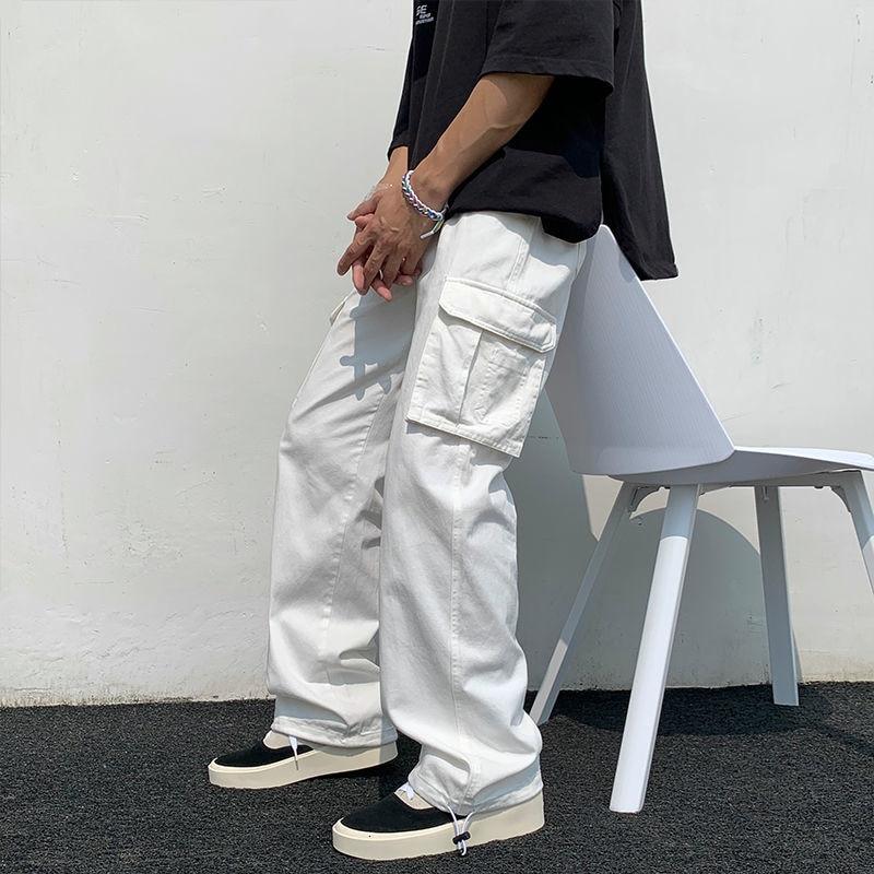 أسود/أبيض سراويل تقليدية للرجال موضة فضفاض مستقيم بنطال ذو قصة أرجل واسعة رجال الشارع الشهير الهيب هوب جيب البضائع بنطلون رجالي بنطلون