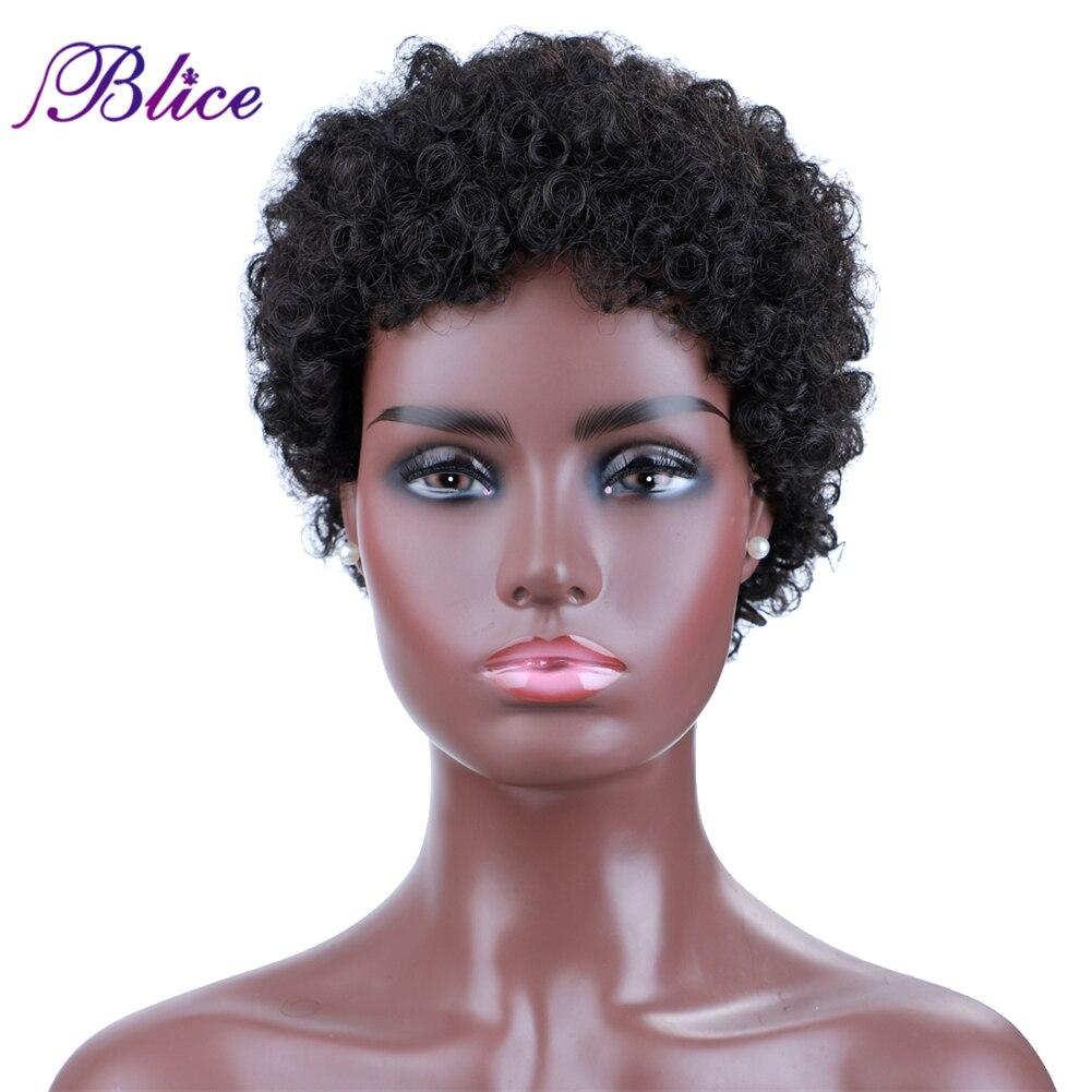 Blice curto afro encaracolado perucas de cabelo sintético para mulher máquina feita respirar livremente peruca com fibra kanekalon
