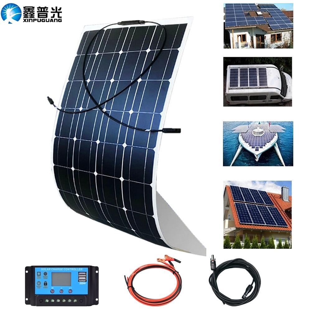 300 واط 200 واط 100 واط etfe لوحة طاقة شمسية 12 فولت عدة كاملة الضوئية شاحن بطارية نظام المنزل لسيارة قارب المنزل RV التخييم 1000 واط فان