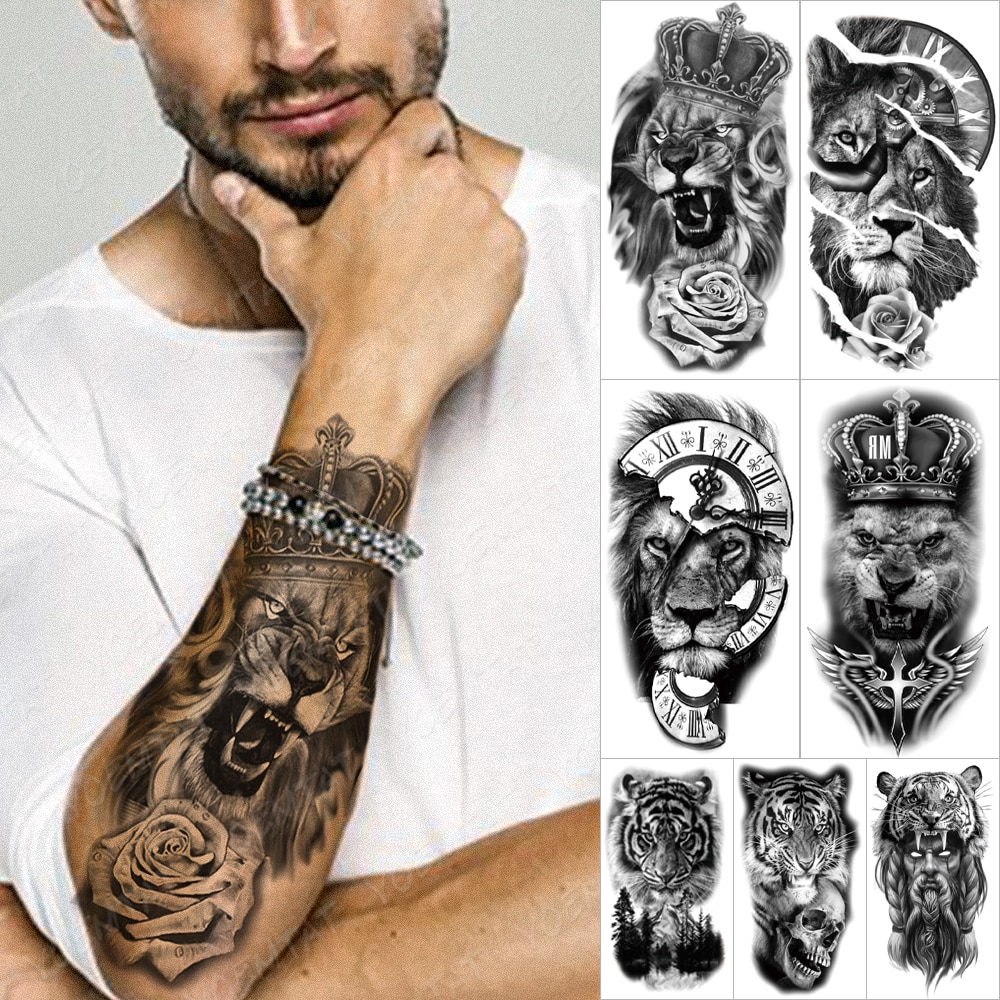 Waterproof Temporary Tattoo Sticker Forest Lion Tiger Bear Flash Tattoos Women Leopard Wolf Crown Body Art Arm Fake Tatoo Men