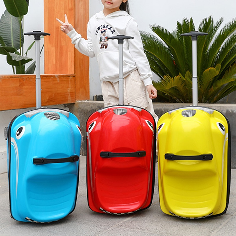 New Cartoon Ride Cars Cute Suitcases Kids Rolling Luggage Trolley Case Slip Baby Suitcases for Boys and Girls Riding On