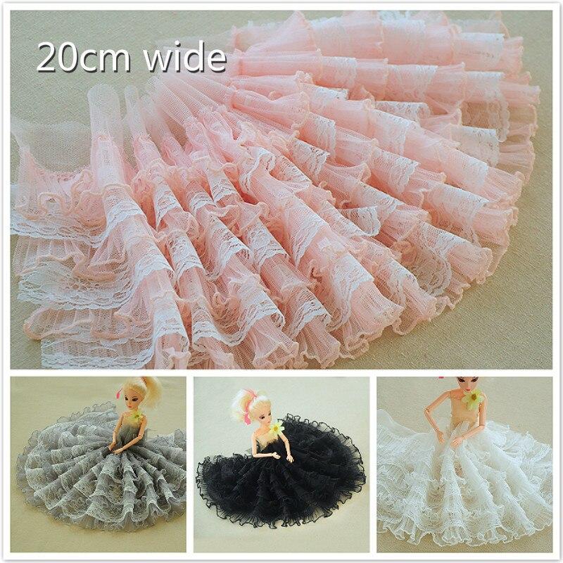 20 см Широкий многослойный гофрированный с сеткой кружевная ткань для творчества одежда юбка свадебное быстрое шитье игрушек кукла платье украшения Аксессуары
