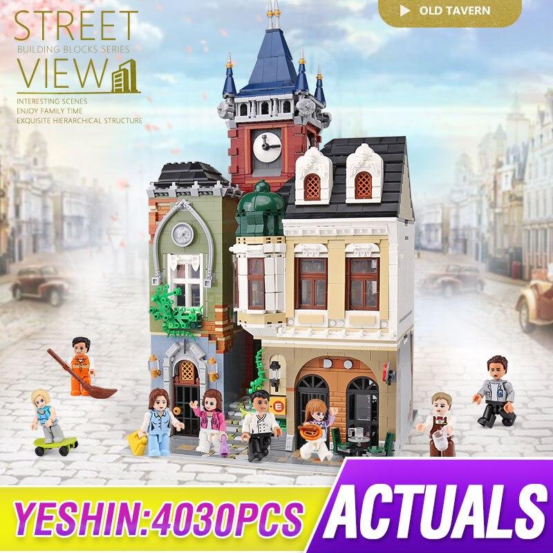 MOC 4030 шт., серия City Streetview, кирпичная старогородская модель паба, строительные наборы, блоки, LepinBricks, детские игрушки, рождественский подарок