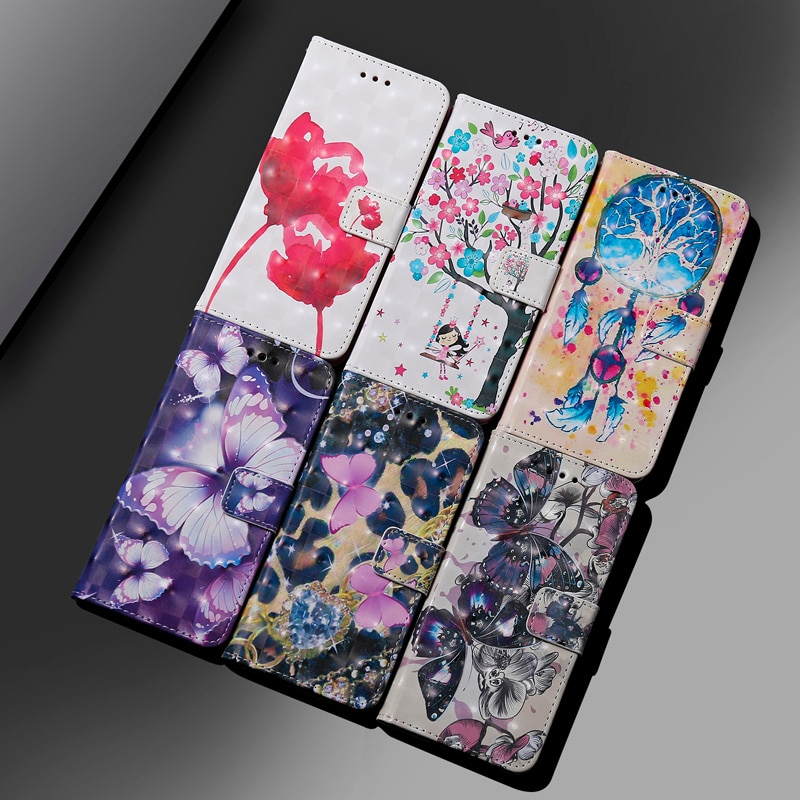 Butterfly Flip Case For Huawei Y9 2019 Leather Phone Case For Hauwei Y7 Y6 Y5 Y3 Prime Pro 2019 2017 Cute Purple Cover enlarge