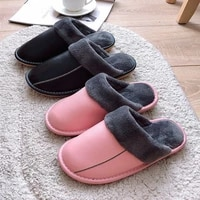 autumn winter 2021 fashion genuine leather slippers ladies daily house flat plush warm slippers women shoes