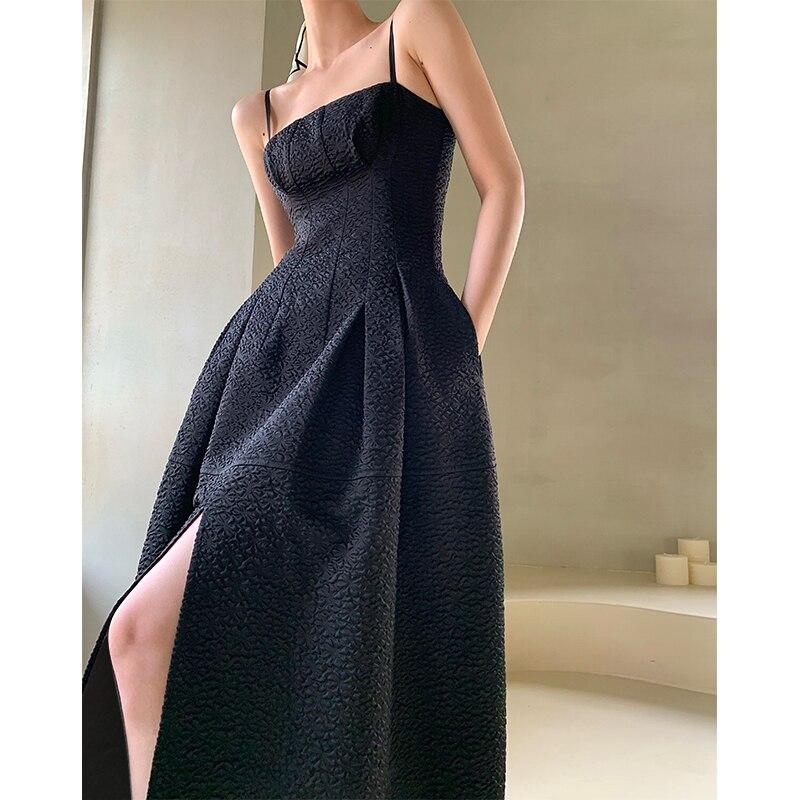 الصيف أنيقة المرأة السباغيتي فستان بحزام 2021 رداء ضئيلة الإناث انقسام خمر فستان حفلة سوداء بلا أكمام a-line Vestidos
