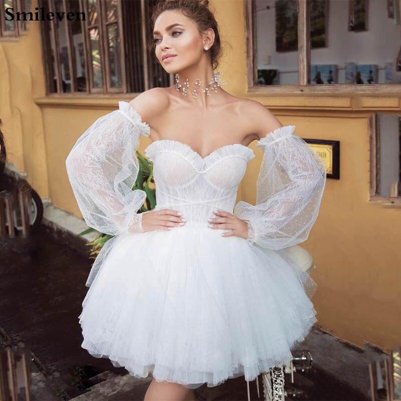 فستان زفاف قصير الأكمام قابل للانفصال من Smileven موضة 2019 فساتين عروس بوهو صغيرة بدون حمالات على الشاطئ فستان زفاف