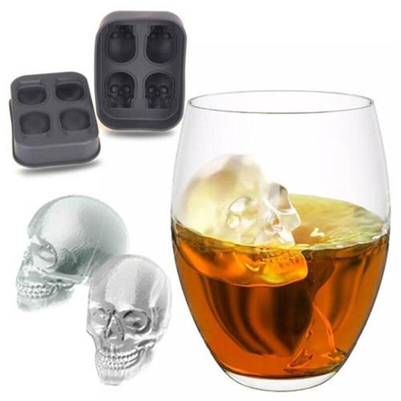 Molde de calavera 3D de silicona para hacer hielo, bandeja de Chocolate para cocina, molde de pastel de caramelo, Bar, herramientas para fiesta, whisky, vino, helado