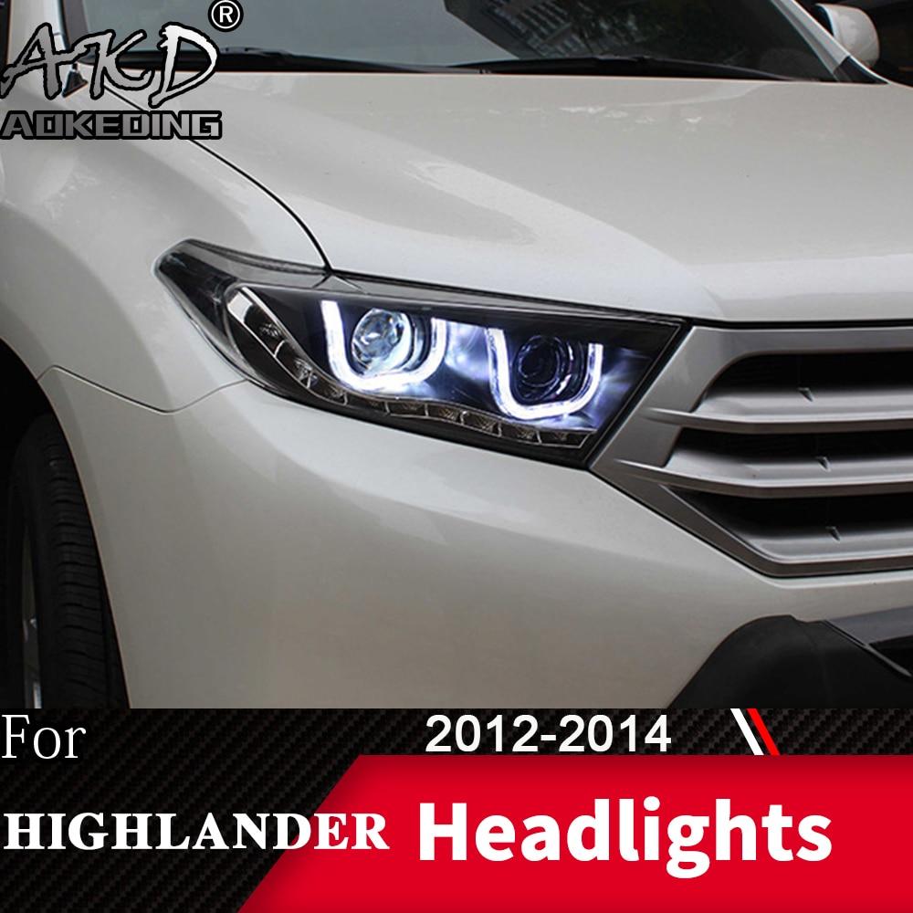 Head Lamp For Car Toyota Highlander 2012-2014 Kluger Headlights Fog Lights Day Running Light DRL H7 LED Bi Xenon Bulb Car